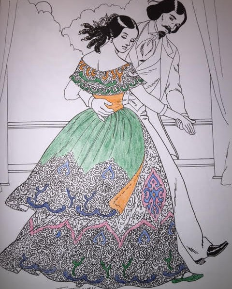 A coloring project in progress