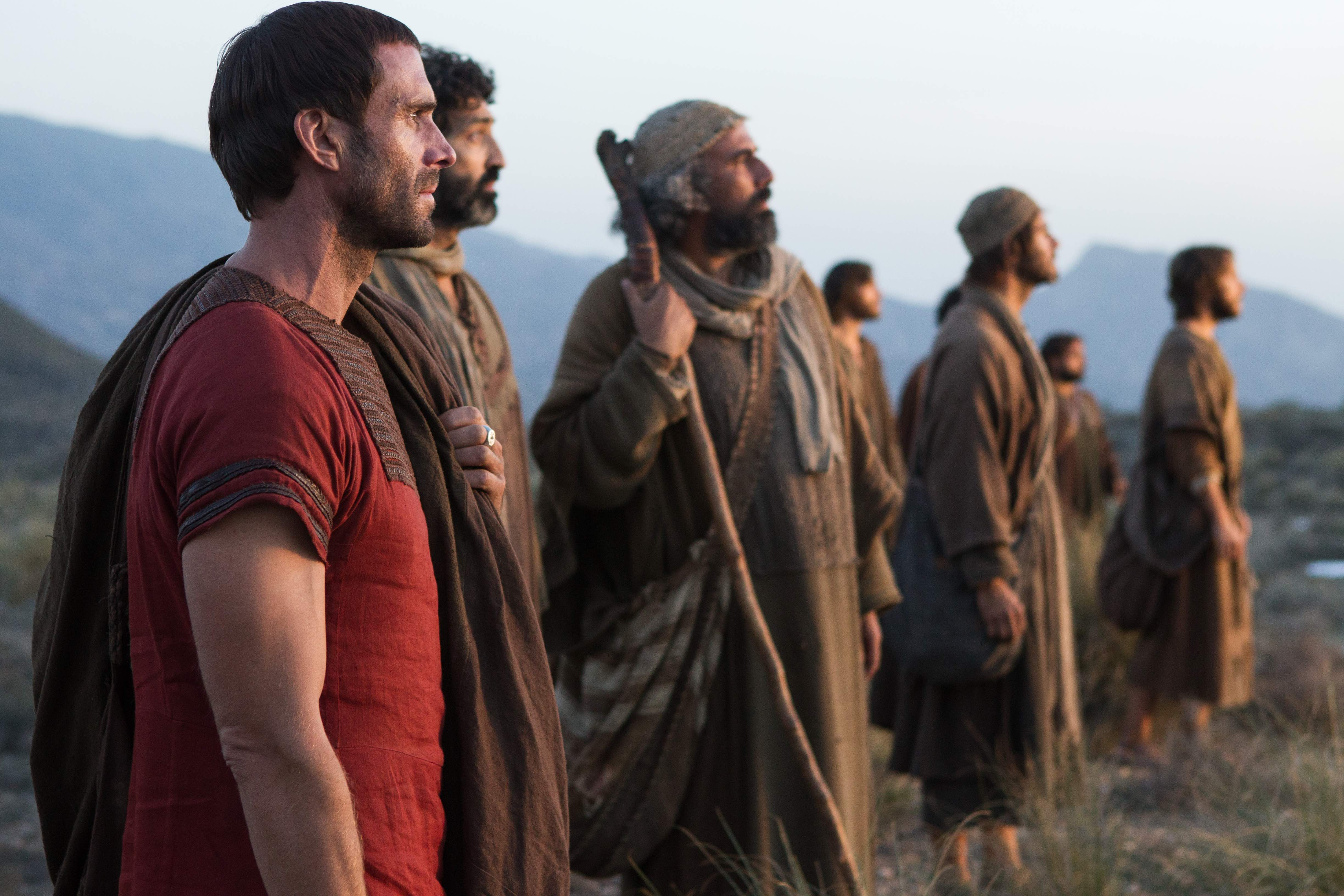Clavius (Joseph Fiennes) with Jesus' disciples, witnesses a miracle in Columbia Pictures' RISEN, in theaters nationwide, Feb. 19, 2016.