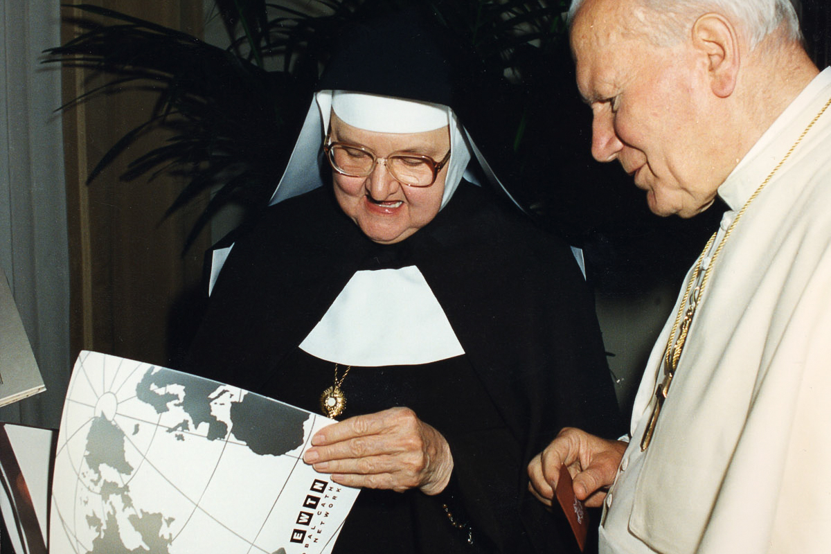 HANDOUT PHOTO:   Mother Angelica and the other is an image of Mother Angelica and Pope John Paul II. (Courtesy of EWTN)