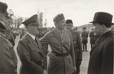 Discussion with Hitler, Mannerheim and President Ryti. Hitler visited Mannerheim on his 75th birthday.