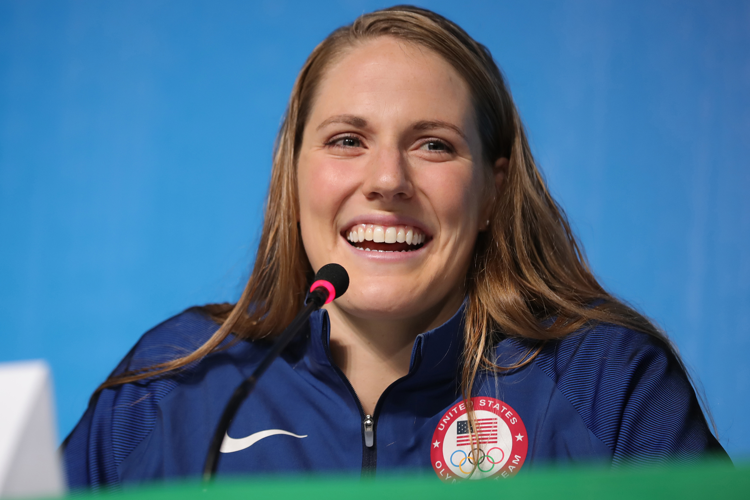 Missy Franklin (USA), is seen during the Swimming Press Conference of team USA at the MPC (Main Press Centre) at Olympic Park Barra prior to the Rio 2016 Olympic Games in Rio de Janeiro, Brazil, 3 August 2016. Rio 2016 Olympic Games take place from 05 to 21 August. Photo: Michael Kappeler/dpa