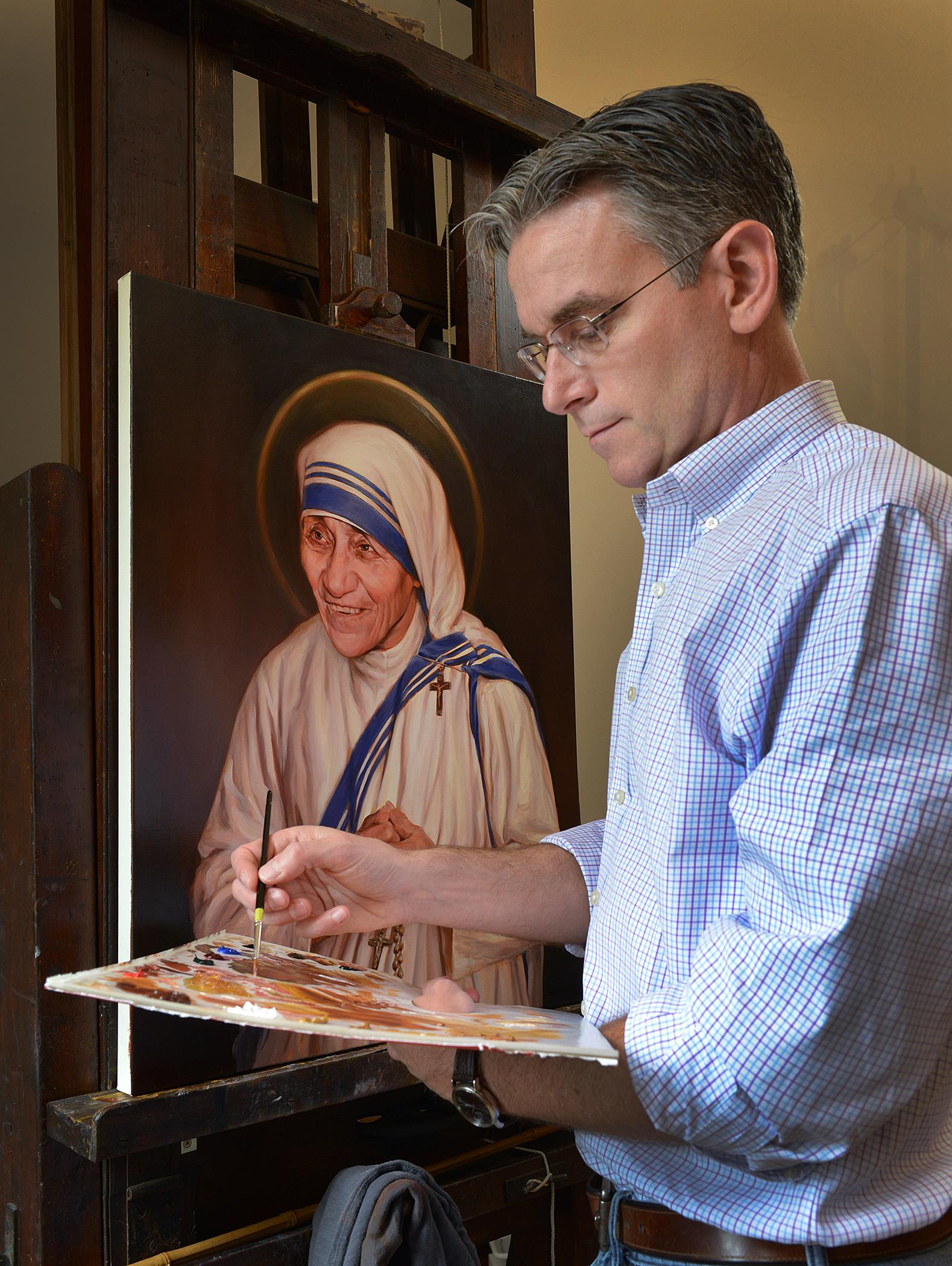 Charles Fagan painting Mother Teresa
