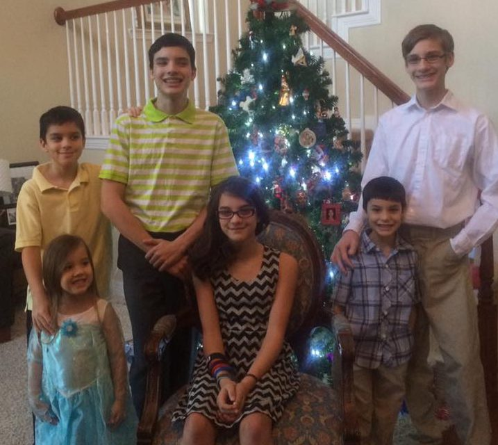 Frech kids: (clockwise from tree) Lincoln, 15;  Bob, 7; Ella, 12; Josephine, 4; Cullen, 9; Ben, 16