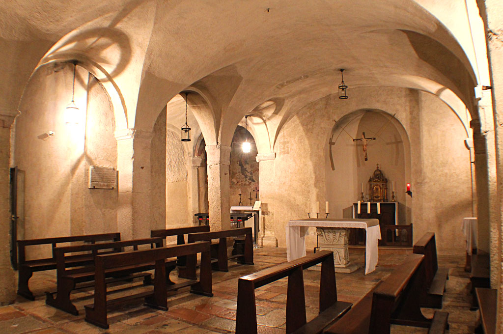 The crypt of the Basilica of St. Benedict in Norcia. According to ancient tradition, this crypt is the birthplace of St. Benedict and his twin sister, St. Scholastica.