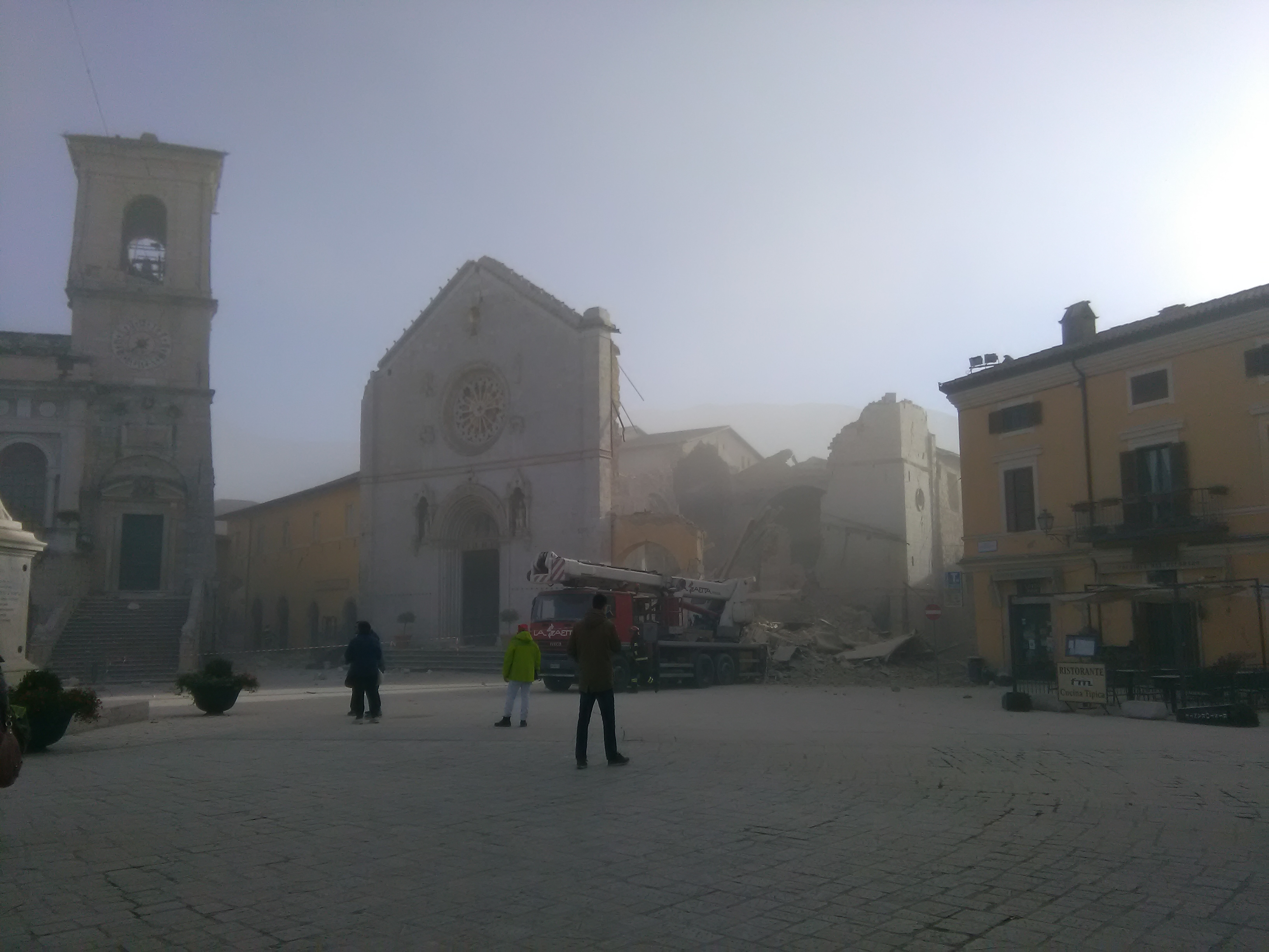 An earthquake destroys the Basilica of St. Benedict in Norcia, October 20, 2016.