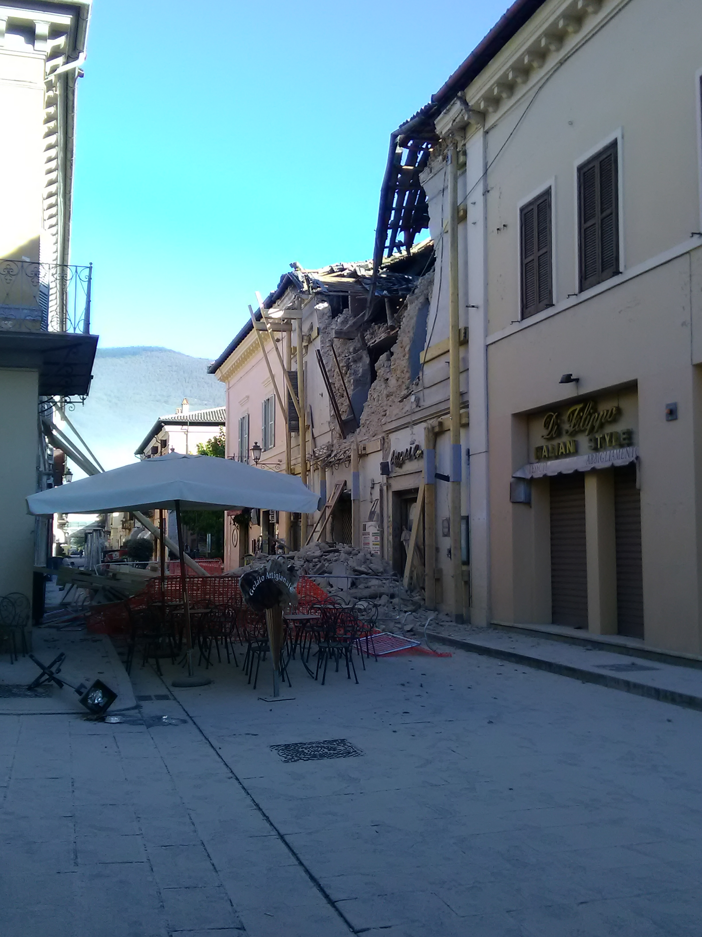 Main street in Norcia, Italy following October 20 earthquake