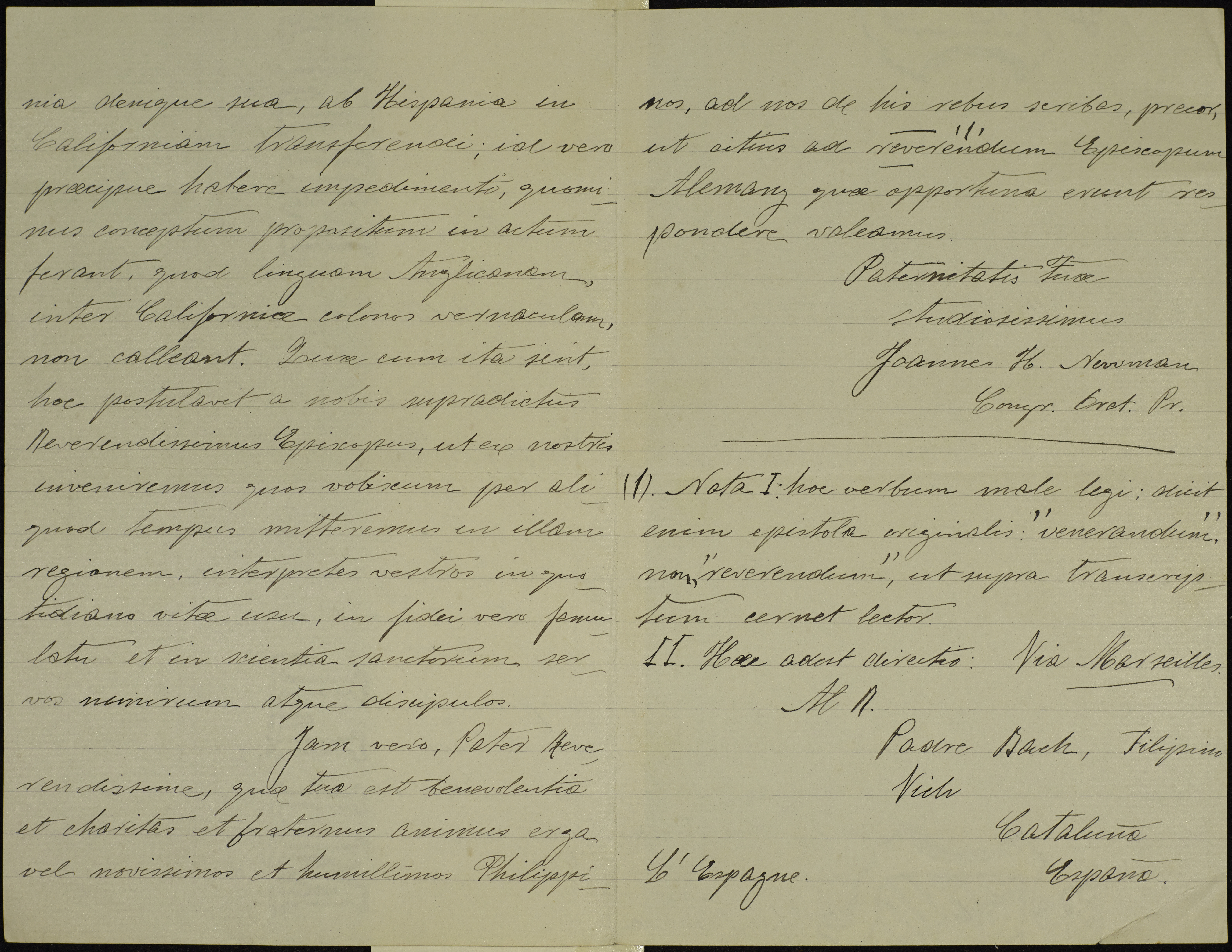 NEWMAN LETTER IN LATIN