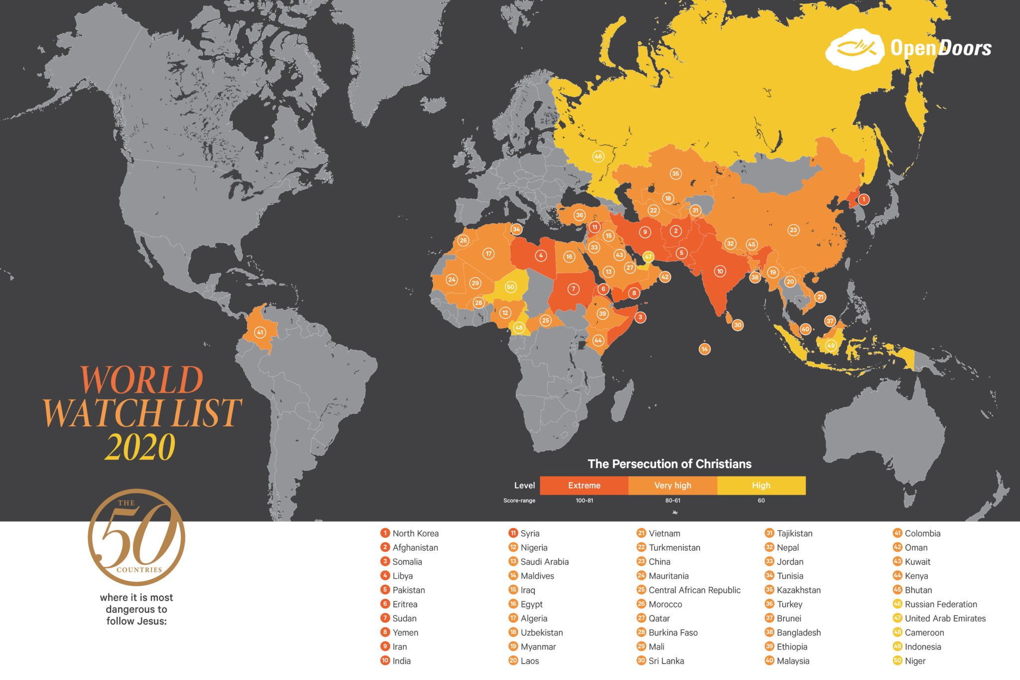 OPEN DOORS; PERSECUTION OF CHRISTIANS MAP